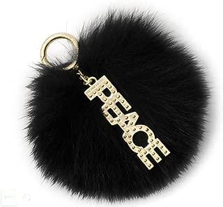Black Fox Fur Peace Pom Pom Keychain Charm