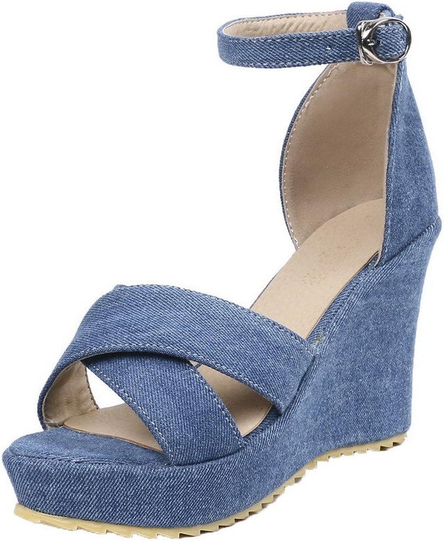 WeenFashion Women's Fabric Open-Toe High-Heels Solid Sandals