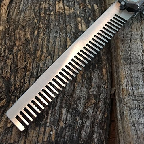 Automatic Push Button Folding Comb Switch Blade Knife Looking Brush Blue Pearl
