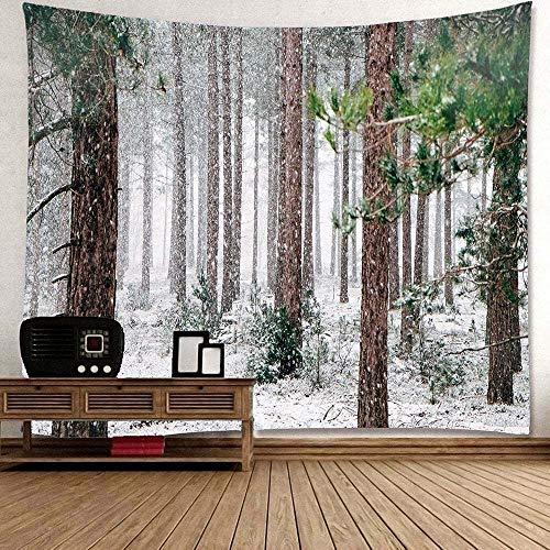 WAXB Tapiz Decoración del Hogar del Dormitorio del Colgante De Pared del Tapiz del Arte del Patrón De La Nieve del Bosque Decoración del Hogar Regalo 51 X 59 Pulgadas