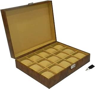 Laveri Faux Leather 15 Watches Storage Box For Unisex