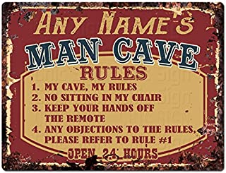 Any Name's Man CAVE Rules Custom Personalized Tin Chic Sign Rustic Vintage Style Retro Kitchen Bar Pub Coffee Shop Decor 9