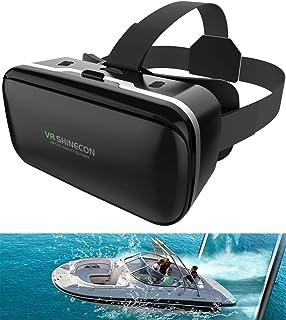 VRゴーグル VRヘッドセット VRヘッドマウントディスプレイ 3D スマホVR ヘッドホン付き モバイル型 瞳孔/焦点調節 4.0~6.5インチのiPhone/andoridで使える ブラック (ブラック)