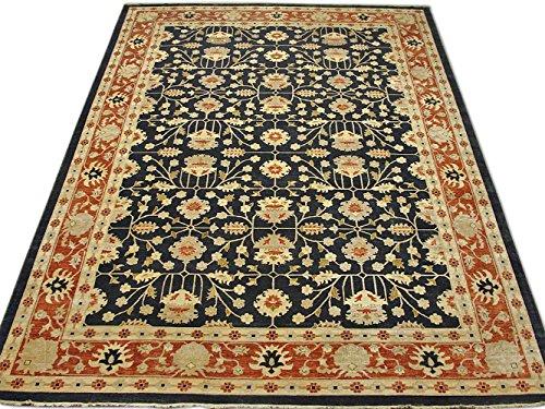 Pak Persian Rugs Handgeknüpfter Ushak Teppich, Schwarz, Wolle, Over Size, 366 X 515 cm