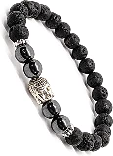 The Bling Stores Reiki Healing Lava Stones Beads Bracelet For Men And Women In Stylish Latest Fancy Design With Buddha Charm