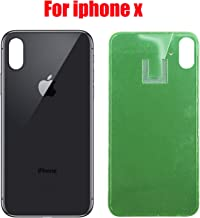 Replacement Back Glass Cover Back Battery Door Pre-Installed Adhesive Replacement for iPhone X (Black)