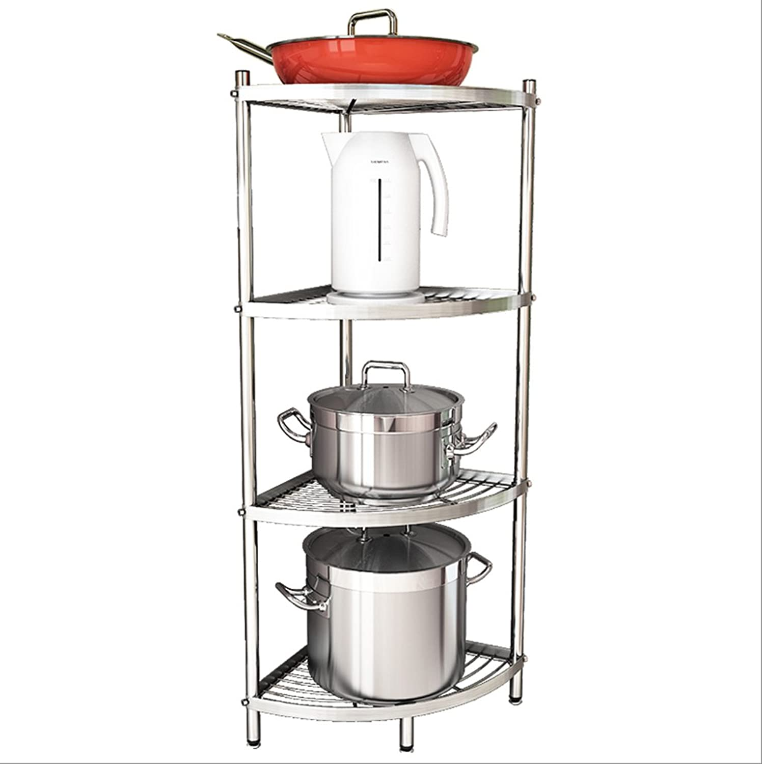 HTTDIAN Kitchen Triangle Rack Floor Multi-Layer Pot Rack Put Pot Shelf Corner Storage Floor Storage (Size   4 Tiers)