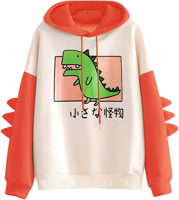 Eoailr Hoodies for Women Dinosaur Branded goods Sweatshirt Sleeve Splice Long Max 83% OFF