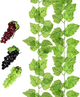 huianer 2 PCS Artificial Grape Vines with 3 Strings Grapes, Each 7.5 Feet Fake Foliage Hanging Plant with 66 Pieces Leaves for Wedding Home Indoor Outdoors Party Garden Wall Decoration(Large)