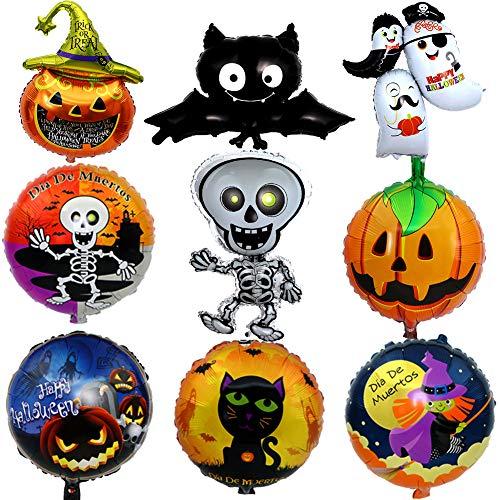 BESTZY Globos de Halloween 9 Piezas Decoración de Halloween Globo de Bat Globo de Calabaza Globos de Papel de Aluminio para Decoración de Fiesta de Halloween