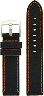 Long Watch Band Leather Black Red White Orange Stitching Thick Sport