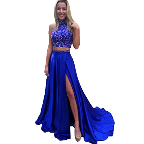 c22afee4186 HONGFUYU Gorgeous A-Line High Neck Lace Prom Dress Beading Evening Gown
