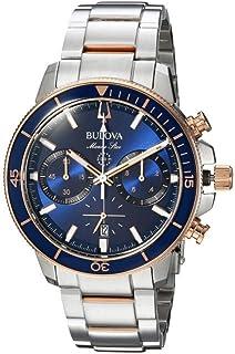 Bulova (ブローバ) メンズ 腕時計 Marine Star - 98B301 Silver/Rose Gold/Blue サイズOneSize [並行輸入品]