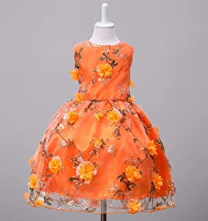 Luxury Princess Dress Flower Girl Dress Summer Children's Wear Sleeveless Princess Tutu Dress Flower Girl Dress Children ryq (Color : Orange, Size : 150cm)