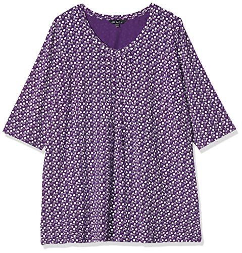 Ulla Popken Damen große Größen Pintuck V-Neck Tiny Floral Tunika-Shirt, aubergine, 50+