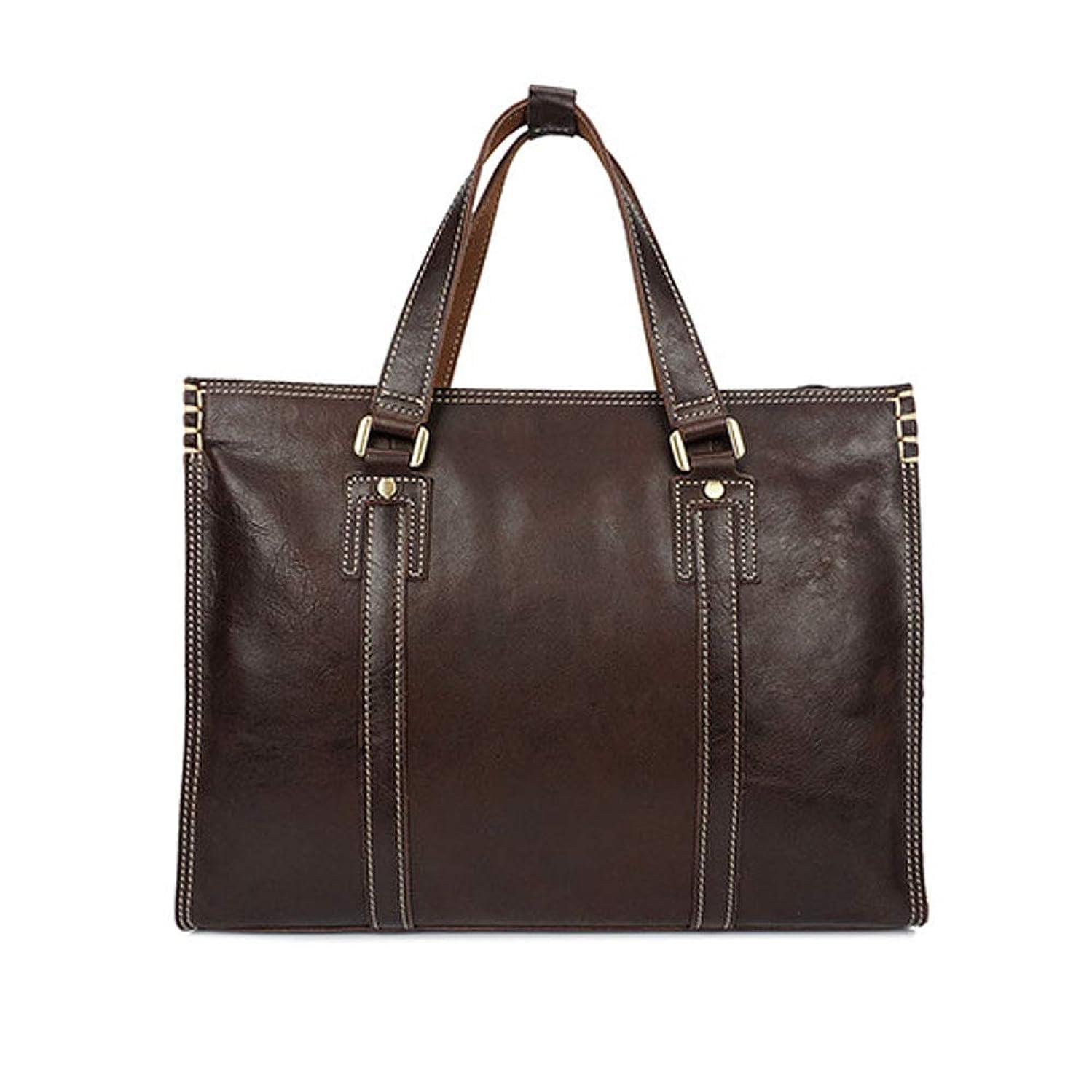Jaiconfiance Men Leather Briefcase Men's Laptop Case with Handle/Laptop Case/Superbook Briefcase Carrying Case, Brown/Coffee Men Vintage Leather Messenger Bag (Color : Brown)