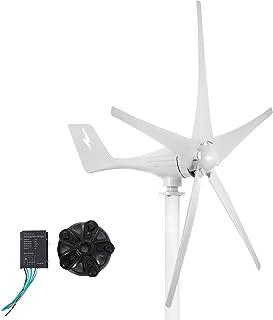 VEVOR Generador de Turbina de Viento 500 W 24 V Turbina de Viento Ajustable con 5 Palas, Velocidad Nominal del Viento de 13 m/s Aerogenerador con Generador de AC PMG Trifásico para Carreteras y Barcos