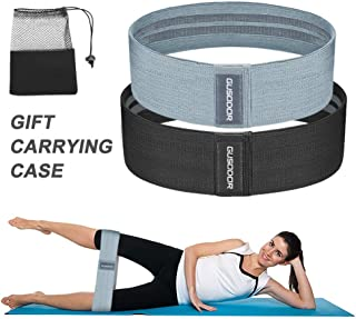 GUSODOR Bande Elastique de Résistance Équipement d'Exercices pour Musculation Pilates pour Yoga Corps, Jambes, Fessiers - Lot de 2 Bandes avec Sac de Transport