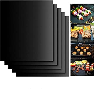 ELECDON 5pcs Reusable Non-Stick BBQ Grill Mat Pad, Baking Sheet Meshes Portable, Outdoor Picnic Cooking Barbecue Tool 40x3...