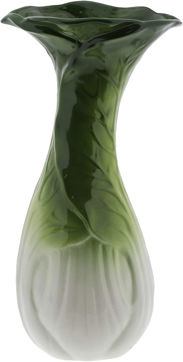 Collectible Vegetable Tall Ceramic Vase for Home Décor or Kitchen - Bok Choy