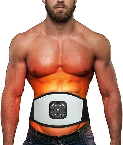 WUYEA Stimulateur Musculaire, EMS ABS Formateur Ceinture Abdominale, Muscles Toner pour ABS Bras Jambes, équipement de Sport de la Maison en Cuir PU