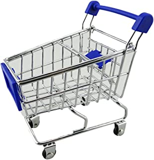yueton Mini Shopping Cart Supermarket Handcart Shopping Utility Cart Mode Storage Toy Desk Accessory and Decoration (Stainless Steel Blue)