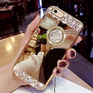 LEMAXELERS Cover Galaxy Note 20,Galaxy Note 20 Custodia Glitter Diamante Orso Silicone Specchio Trucco di placcatura con del Supporto del Cavalletto Morbido TPU Custodia Cover,Bear Mirror Rose Gold