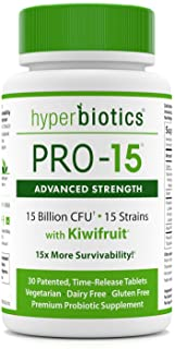 PRO-15 Advanced Strength Probiotics: 3X The CFU Count with Kiwi Extract - 15 Strains - 30 Once Daily Tablets - 15x More Effective Than Capsules with Patented Delivery Technology
