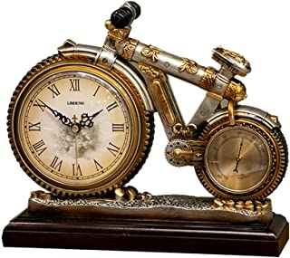 Desk & Shelf Mantel Clocks, Bicycle Bike Shape Creative Design Decoration Clock,Use for Bedroom,Desk,Kitchen,Office, Mantel,Living Room,American Retro Style,with Base and Thermometer