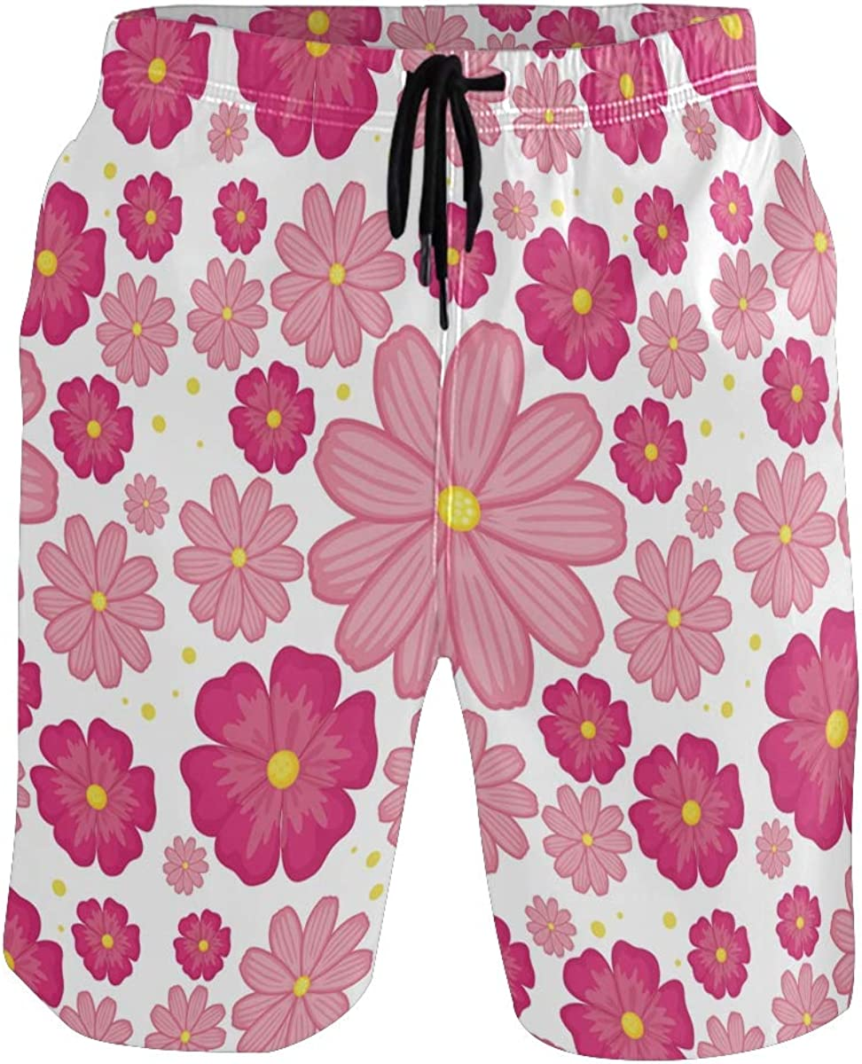 CENHOME Mens Swim Trunks Pink Flower Rosy Floral Pattern Beach Board Shorts
