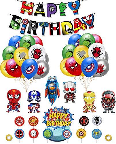 Decoracion Cumpleaños Superheroes Globos de Superhéroe Feliz Cumpleaños del Pancarta Superheroes Adornos de Pastel Superhéroe Marvel Cumpleaños Decoracion (A)
