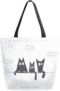 Mnsruu Mnsruu Einkaufstasche aus Segeltuch, wiederverwendbar, mit 3 stilvollen schwarzen Katzen, Reisetasche, für Damen und Mädchen