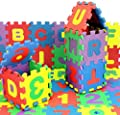 DOYCE 36Pcs Baby Foam Play Mat Number Alphabet Puzzle Foam Maths Educational Toy Gift Floor and Mat, Multicolor Play Mat with Shapes & Colors or Numbers Alphabets, Foam 12X12cm/Pcs