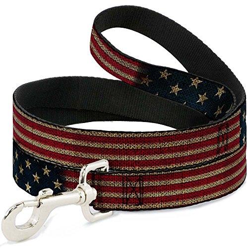 Buckle-Down Pet Leash - Vintage US Flag Stretch - 6 Feet Long - 1