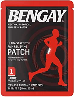 BENGAY Ultra Strength Pain Relief Patch for Muscle Pain On-The-Go, Large 3.9 x 7.9 inches, 1 ea (Pack of 3)