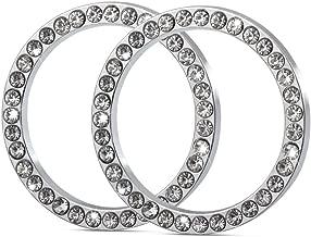 RaxTDM 2Pcs Car Decor Crystal Rhinestone, Auto Engine Start Stop Decoration Crystal Interior Ring for Alfa Romeo Mito 159 147 156 Giulietta Stelvio 166, etc