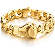 Unique Mens Stainless Steel Curb Chain Link Bracelet with Boxing Glove Polished