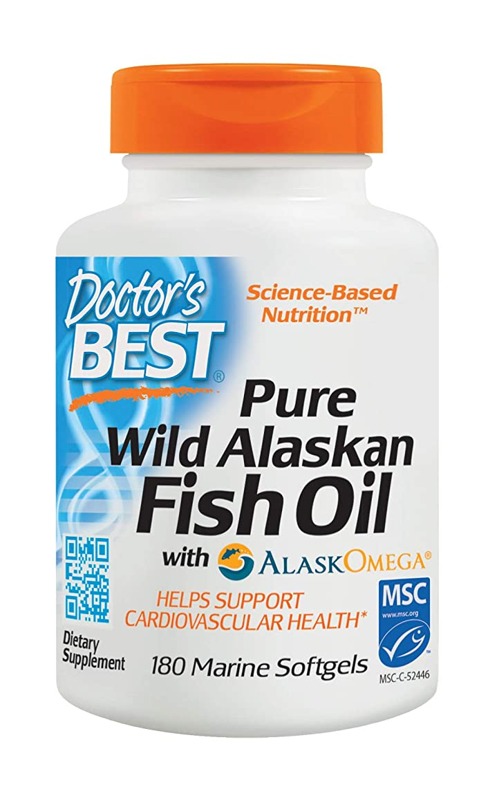 Doctor's Best Pure Wild Alaskan Fish Oil with AlaskOmega, Non-GMO, Gluten Free, 180 Marine Softgels