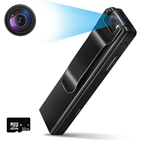 CHARMINER Body Camera, 1080P Mini Body Camera, Tiny Camera with Audio Recording Wearable, Small Security Camera Motion Detection for Home and Office with 32GB Card