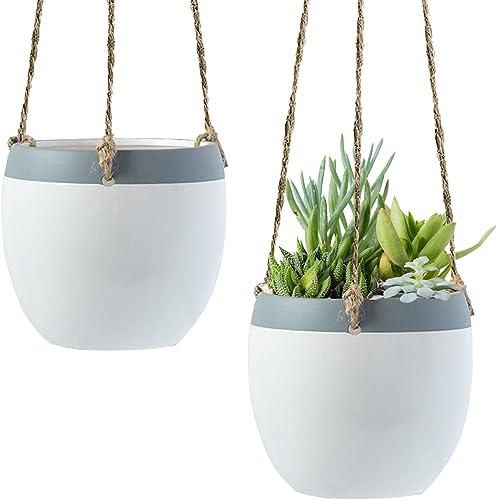high quality Royal outlet sale Imports Flower Hanging Ceramic Planter Basket Decorative for popular Indoor Outdoor Garden Patio Decorative Plant Pot, Set of 2, White/Grey online