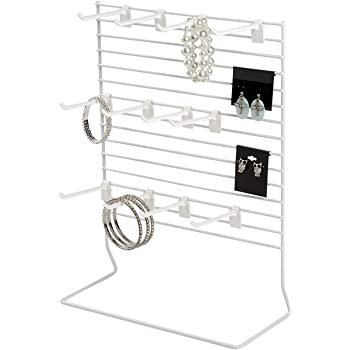 6 Removable 4 Hooks Rich CAJ-12-6KH04B Wire Grid Counter Display with Wire Frame Sign Holder and Black Powder Coated Finish Back Panel Grid