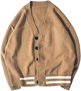 Knitwear Men's Jacket, Winter Men's Loose Cardigan Jacket Sweater, Couple Models Warm Long-Sleeved Sweater Jacket, Anti-Pilling/not Shrink/Washable (Color : Beige, Size : M)