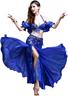Belly Dance Costume for Women Sexy Embroidery Belly Dancing Bra and Belt Big Swing Split Dance Skirt 3 Pieces Outfits