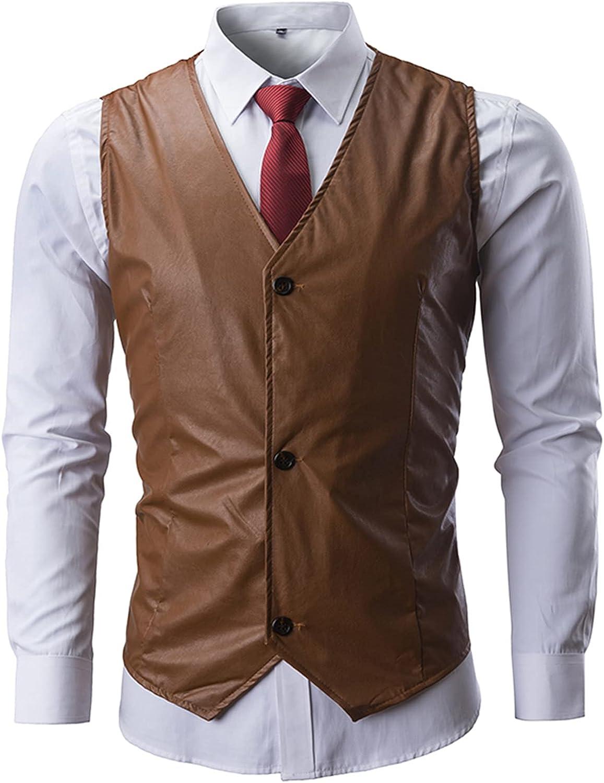 EverNight Men's Leather Waistcoat,Slim Sleeveless PU Faux Fur Leather Gilets,Casual Fashion V-Neck Motorcycle Vest