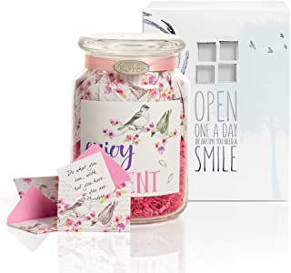 KindNotes Glass Keepsake Gift Jar with Friendship and Inspirational Messages - Birds and Flowers Enjoy Every Moment