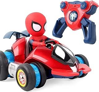 66GSB スパイダーマンマジックホイールリモートコントロールカー充電スタントカーハイスピードドリフト4つの駆動ダンプトラックの子供のおもちゃの男の子の誕生日プレゼント子供の日のギフト ( Color : Three batteries )