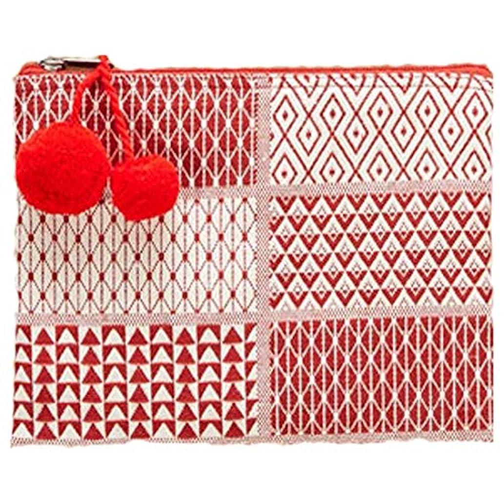 Red Jacquard Zipper Pocket Clutch with Pom-Pom