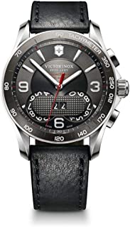 Victorinox Swiss Army 241616 Chrono Grey Dial Black Leather Watch for Men
