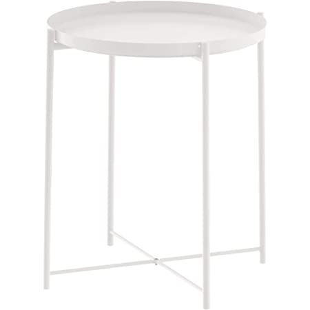 """JANE EYRE Tray Metal End Table, Small Round Side Table, Accent Coffee Table, Nightstand Bedside Table, Anti-Rust Outdoor & Indoor Snack Table with Removable Tray, (H) 20.6"""" x (D) 17.5"""" - White"""