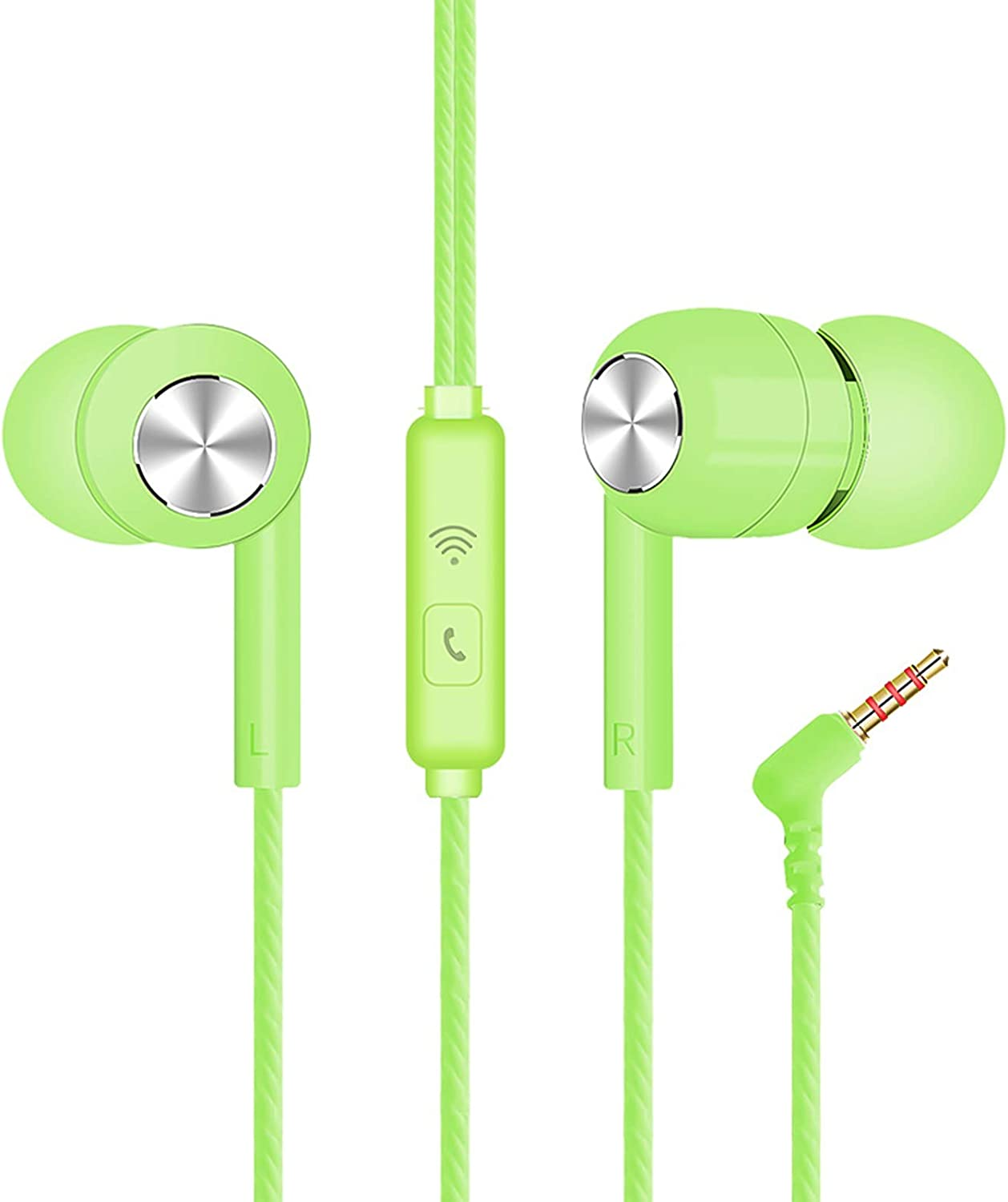 LUYANhapy9 Plug Wired Earphone,S32 Universal 3.5mm L-Shaped Earbuds Headphones Compatible with iPhone and Android Smartphones,iPod,iPad, MP3 Players,Fits All 3.5mm Interface Green One Size